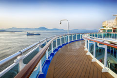 Cruise Ship Deck. Deck of luxury cruise ship, overlooking islands in the Mediterranean royalty free stock photography