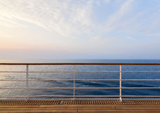 Cruise Ship Deck with Ocean View. Stock Photo