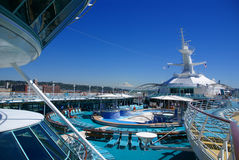 Cruise ship deck and pool with Mt. Rainier Royalty Free Stock Images