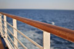 Cruise ship deck. Railing on a deck of a cruise ship stock photo