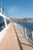 Cruise ship deck. Santorini island from deck of cruise ship Celebrity Reflection stock photography