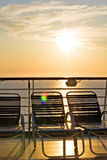 Cruise ship deck at sunset Stock Image