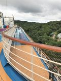 Cruise ship deck with views of Roatan, Honduras. Cruise ship deck overlooking the island of Roatan, Honduras stock image