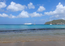 A cruise ship departing admiralty bay, bequia Stock Images