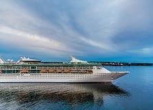 Cruise Ship Departing at Dusk Royalty Free Stock Image