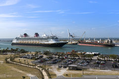 Cruise ship departing Port Canaveral Florida USA Royalty Free Stock Images