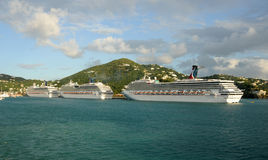 Cruise ship departing USVI Stock Image