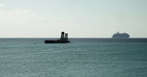 Cruise ship departing stock footage