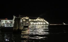 Cruise ship departs from Venice Stock Photography