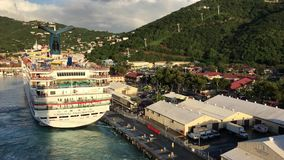 Cruise ship departures from St. Thomas stock footage