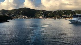 Cruise ship departures from St. Thomas stock video footage