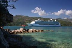 Cruise Ship at Destination. A cruise ship at it's tropical caribbean destination (Haiti Royalty Free Stock Photo