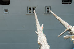 Cruise Ship Details. Docked Cruise Ship Focus on ropes Stock Photo