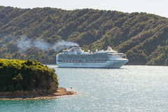 Cruise ship Diamond Princess sailing in New Zealand waters Royalty Free Stock Photo