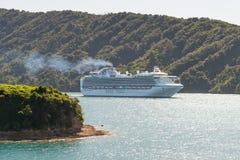 Cruise ship Diamond Princess sailing in New Zealand waters Royalty Free Stock Photo