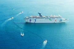Cruise ship disembarking in Santorini Royalty Free Stock Photo