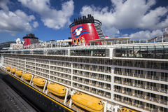 Cruise ship Disney Fantasy docked in the port of Road Town Royalty Free Stock Images