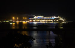 Cruise Ship In the Distance At Night Royalty Free Stock Photography