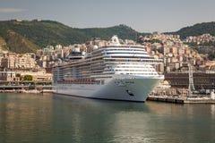 Cruise Ship at Dock in Genoa Italy Stock Image