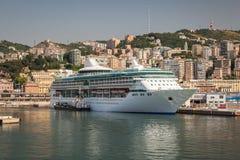 Cruise Ship at Dock in Genoa Italy Stock Photography