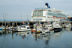 Cruise ship at dock Stock Photo