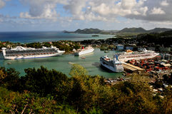 Cruise Ship Dock, St Lucia. It's a busy day for cruise ships in St. Lucia Royalty Free Stock Photography