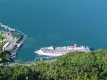 Cruise ship docked in Alaska stock photography