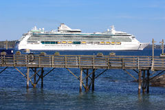 Cruise ship docked in Bar Harbor Royalty Free Stock Photo