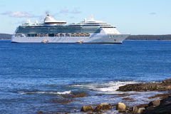 Cruise ship docked in Bar Harbor Royalty Free Stock Photos