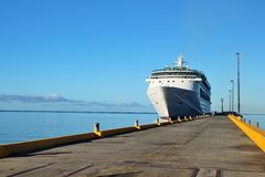 Cruise ship docked. On a beautiful blue ocean Stock Photo
