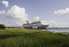 Cruise Ship Docked Beyond Green Marsh Royalty Free Stock Photography