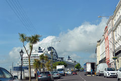 Cruise ship docked at cobh Royalty Free Stock Images