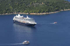 Cruise ship docked at Dubrovnik, city on the Adriatic Sea. Port of Gruz Royalty Free Stock Image