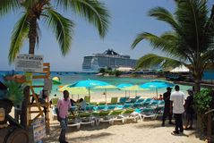 Cruise ship docked in jamaica Royalty Free Stock Photography