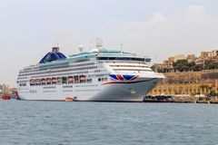 Cruise ship docked on Malta royalty free stock photo