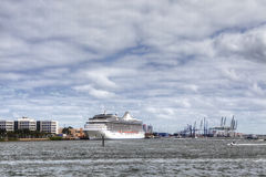 Cruise ship docked in the Miami harbor Stock Images