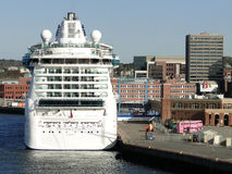 Cruise ship. Docked in New York city Royalty Free Stock Images