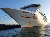Cruise Ship docked at a pier stock image