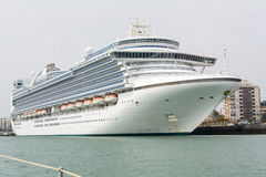 Cruise ship docked in the port of Cadiz, Spain Stock Photo