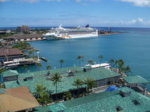 Cruise ship. Cruise docked at port in Honolulu, Hawaii Stock Image
