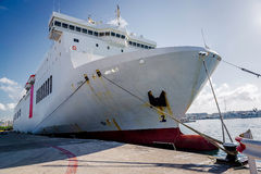Cruise ship docked in the port. Ibiza. Spain Stock Image