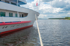 Cruise ship docked in the port. The motor ship is docked in Myshkin, on the Volga River Royalty Free Stock Photos