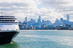 Cruise ship docked in Port Phillip Bay Stock Image