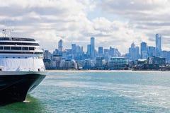 Cruise ship docked in Port Phillip Bay. Melbourne, Vic, Australia set against the Melbourne skyline Stock Image