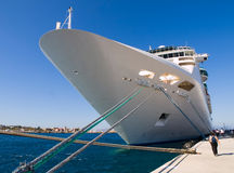 Cruise ship docked in Rothes Royalty Free Stock Photo