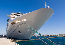 Cruise ship docked in Rothes Royalty Free Stock Photos