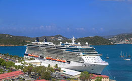 Cruise ship docked in Saint Thomas Stock Photos