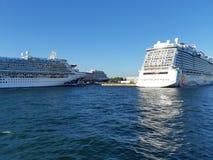 Cruise ship docking at pier stock photo
