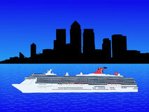 Cruise ship and Docklands Royalty Free Stock Images