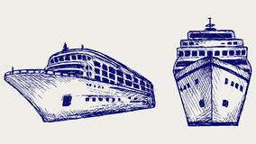 Cruise ship. Doodle style Royalty Free Stock Images